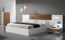 Double bed / contemporary / with in-base storage / integrated bedside table
