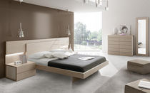 Double bed / contemporary / integrated bedside table / wood
