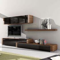 Contemporary TV wall unit / wooden / glass