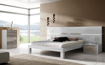 Double bed / contemporary / integrated bedside table / with lights