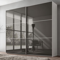 Contemporary wardrobe / glass / melamine / sliding door
