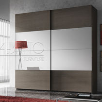 Contemporary wardrobe / melamine / with sliding door / mirrored