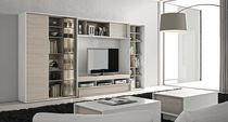 Contemporary multimedia cabinet / lacquered wood