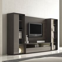 Contemporary TV wall unit / wooden / lacquered wood