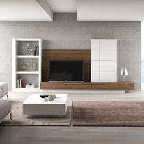 Contemporary TV wall unit / wooden / lacquered wood / modular