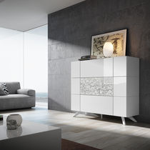 High sideboard / contemporary / lacquered wood / white