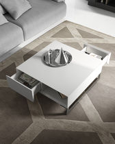 Contemporary coffee table / lacquered wood / square / with storage compartment