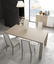 Contemporary dining table / wooden / rectangular / extending