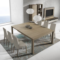 Contemporary dining table / wooden / square / rectangular