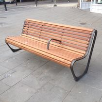 Public bench / contemporary / wooden / cast iron