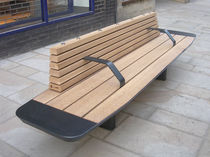 Public bench / contemporary / oak / stainless steel