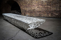 Public bench / organic design / galvanized steel