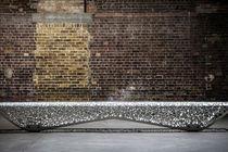 Public bench / indoor / organic design / galvanized steel