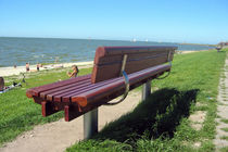 Public bench / contemporary / wooden / stainless steel