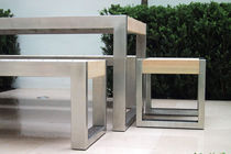 Contemporary stool / wooden / stainless steel / for public spaces