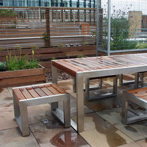 Contemporary stool / wooden / stainless steel / for public areas