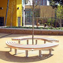 Steel tree guard / wooden / with integrated public bench
