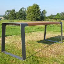 Dining table / contemporary / wooden / galvanized steel
