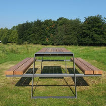 Picnic table / contemporary / wooden / galvanized steel