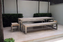 Contemporary dining table / wooden / stainless steel / rectangular