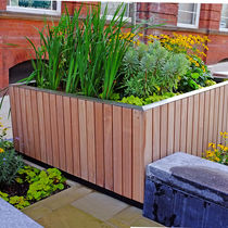 Stainless steel planter / galvanized steel / wooden / square