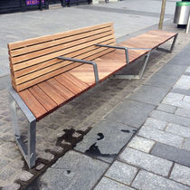 Public bench / contemporary / wooden / cast aluminum