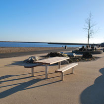 Picnic table / contemporary / hardwood / stainless steel