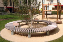 Galvanized steel tree guard / wooden / with integrated public bench