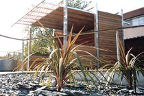 Galvanized steel gazebo / wooden / for public spaces