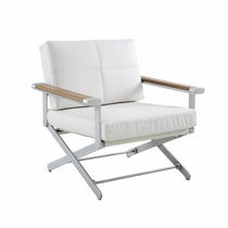 Contemporary armchair / teak / aluminium / synthetic leather