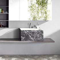 Countertop washbasin / rectangular / Corian® / marble