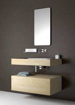 Wooden vanity top / stainless steel / with integrated towel rail