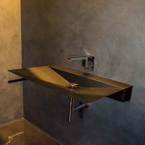 Wall-mounted washbasin / rectangular / steel / original design