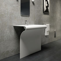Free-standing washbasin / rectangular / Solid Surface / contemporary