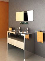 Double washbasin cabinet / free-standing / stainless steel / wooden