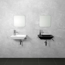 Wall-mounted washbasin / rectangular / stainless steel / original design