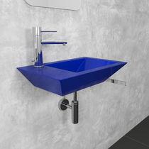 Wall-mounted washbasin / rectangular / stainless steel / original design