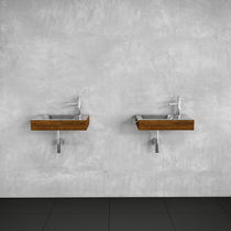 Wall-mounted washbasin / rectangular / wooden / stainless steel
