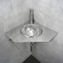 Wall-mounted washbasin / corner / stainless steel / original design