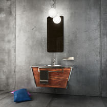 Wall-hung washbasin cabinet / stainless steel / contemporary
