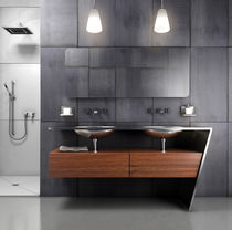Double washbasin cabinet / free-standing / wooden / stainless steel