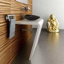 Countertop washbasin / rectangular / stainless steel / contemporary