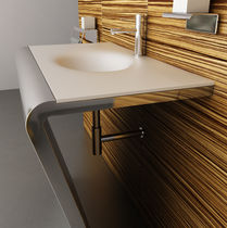 Countertop washbasin / rectangular / Corian® / stainless steel