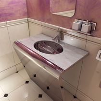 Countertop washbasin / rectangular / marble / contemporary