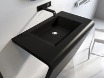 Free-standing washbasin / rectangular / marble / contemporary
