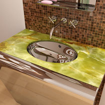 Countertop washbasin / rectangular / marble / stainless steel