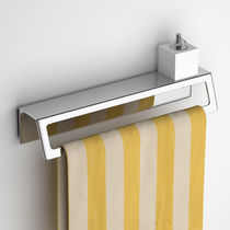 1-bar towel rack / wall-mounted / stainless steel / with soap dish