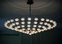 Contemporary chandelier / brass / halogen
