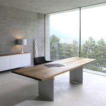 Solid wood desk / steel / aluminum / contemporary
