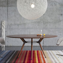 Contemporary table / wooden / steel / rectangular